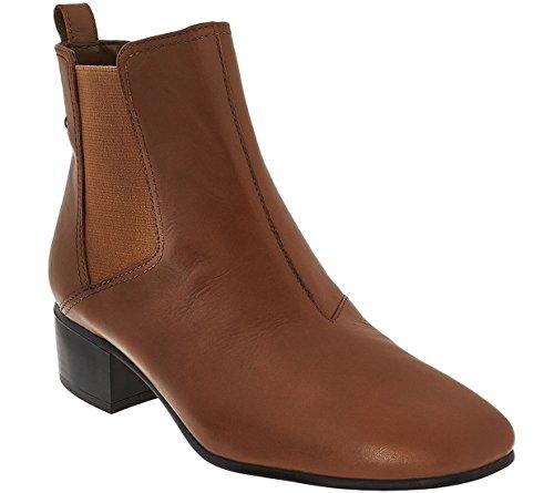 H Genom Halston Halston Storlek 8m Gored Läder Boots I Kamel Brun Alison A269758