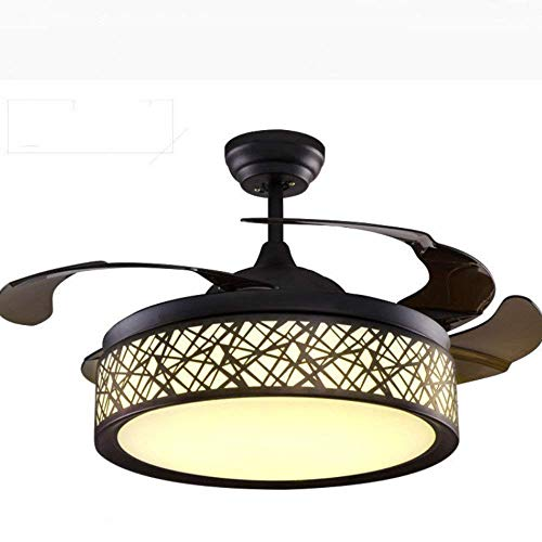 Lighting Groups Invisible Ceiling Fan Lamp Bedroom Living Room Dining Room Fan Light Simple Modern Home Fan Chandelier 42 Inch Retractable 4 Blades Ceiling Light Fixture with Remote Control (Black)