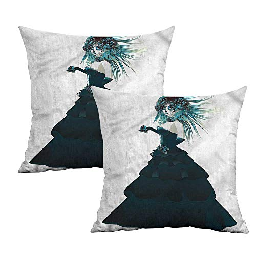Khaki home GirlsCreative pillowcaseGothic Halloween Lady ZombieSuitable for Hair and Skin Health W 16