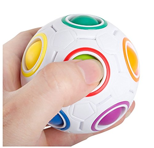 Lbsel Rainbow Ball Magic Cube Fidget Toy Rolling 3D Puzzle Desk Toy Anti Stress Stress Reliever Soccer Football Ball Game Fun Educational Toys, Gifts for Kids Children Teens Adult (Football Gifts For Teens)