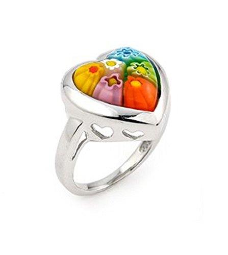 Multicolor Murano Millefiori Glass Heart Ring 925 Sterling Silver