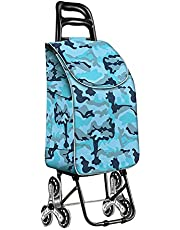 Qing MEI Foldable Climbing Shopping Cart with Wheels Climbing Stair Steel Frame Trolley Old Shopping Cart with Waterproof Bag Removable 37x20x95cm A+ (Color : B)