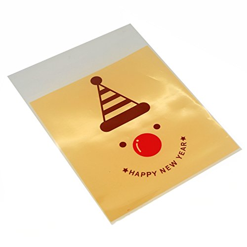 X'mas Christmas Cookie Candy Party Gift Bags with Self-Adesive, Pakc of 95, Various Design (Clown)
