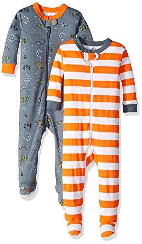 Gerber Baby Boys 2-Pack Footed Unionsuit, Camper, 6 Months