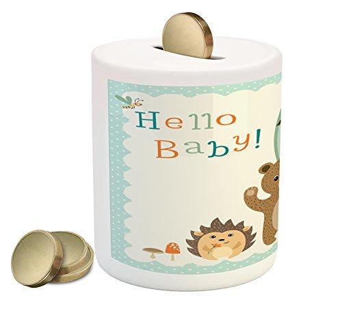 Cheap  Lunarable Baby Shower Piggy Bank, Woodland Animals Owl Bear Hedgehog Bee and..
