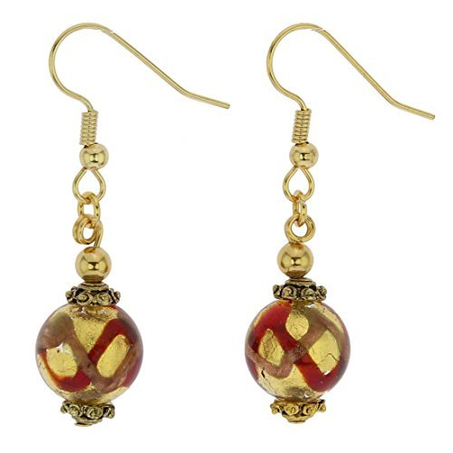 GlassOfVenice Murano Glass Antico Tesoro Balls Earrings - Red Waves Gold by GlassOfVenice