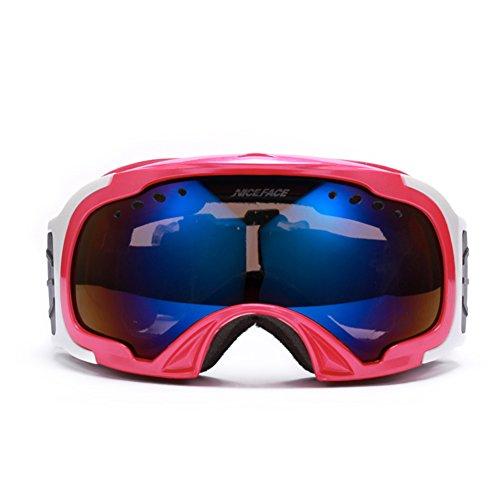 SE7VEN Masques De Ski Enfants,Coupe-vent Anti-buée Sphériques Lentille Double Couche Petit Lunettes De Sécurité Rose Rouge