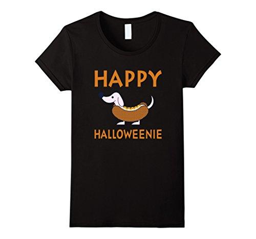Womens Happy Halloweenie - Funny Dachshund Weenie Dog Halloween Tee XL (Crazy Dog Lady Costume)
