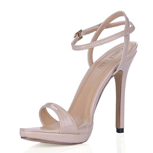 Scarpe a Donna Nuziale Spillo Caviglia Cinturino Partito CHMILE Rosa 1cm Alto Eleganti Tacco Sposa CHAU da Piattaforma Moda Sandali alla pearl 0t1qz5w