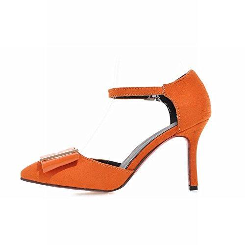 MissSaSa Damen Knöchelriemchen Pointed Toe Matall Schmuck Pumps mit Stiletto elegant und modern high-heel Schnalle Sandalen Orange