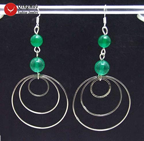 Qingmos Fashion Natural Jades Earrings for Women with 8-10Mm Pink Jades 3 Pieces Metal Round Circle Dangle 3.539;39; Earring Ear621 (Green - Charming Green Jade Earring