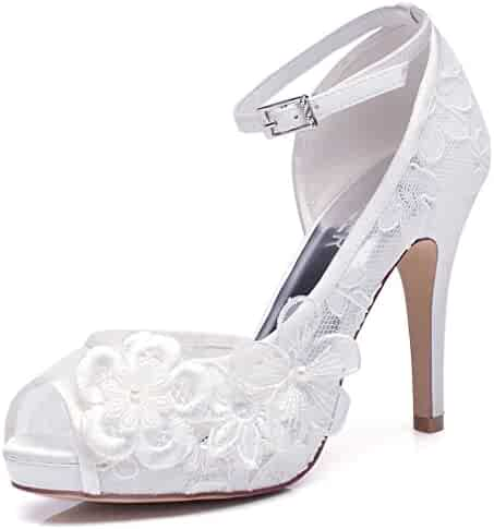 5d70fbea0a993 LUXVEER White Lace Wedding Shoes for Bridal with Floral Brooches Medium  Heel-4inch-Peep