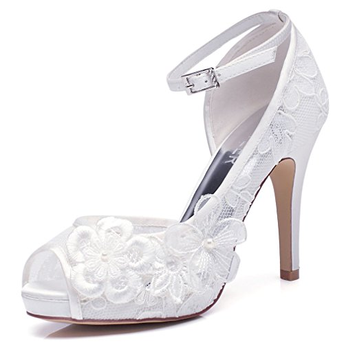 LUXVEER Ivory Wedding Shoes For Bridal with Floral Brooches Medium Heel-4inch-Peep Toe (EUR35)