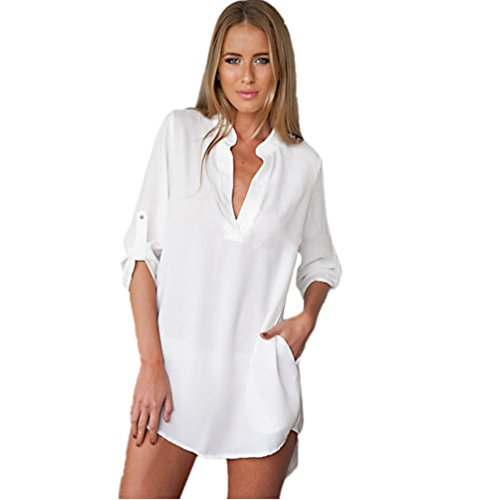Women Blouse Long Shirt Sleeve Tunic V Neck Loose Tops Casual