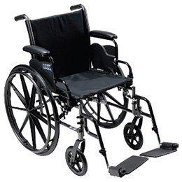 Cruiser III Lightweight, Dual Axle Wheelchair - Full Arms, 20 x 16, Legrests - Model 565473