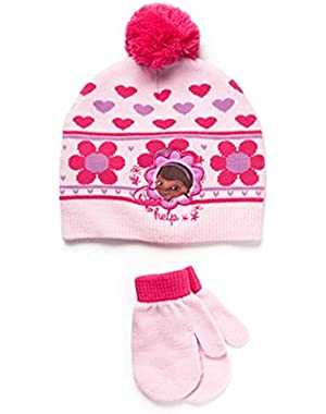 Doc McStuffins Toddler Girl Beanie Knit Hat and Mittens Set Pink