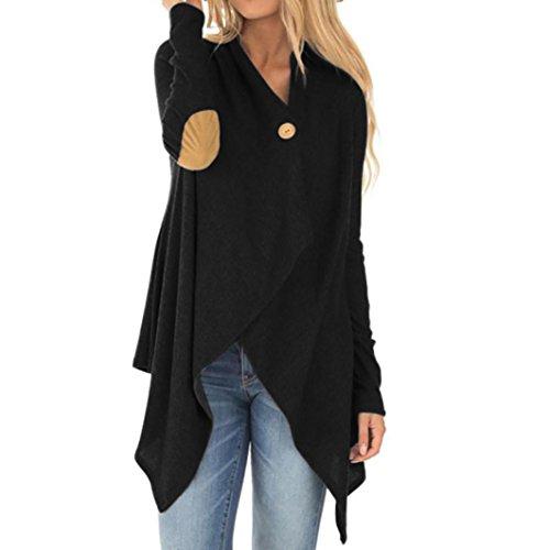 Vestido Irregular Patchwork Abrigo Con Frente Ropa Abierto Mujer De De Larga QinMM Manga Negro Coat 7xwFZzwq