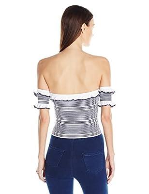 Guess Women's Short Sleeve Aimee Off Shoulder Stripe Sweater