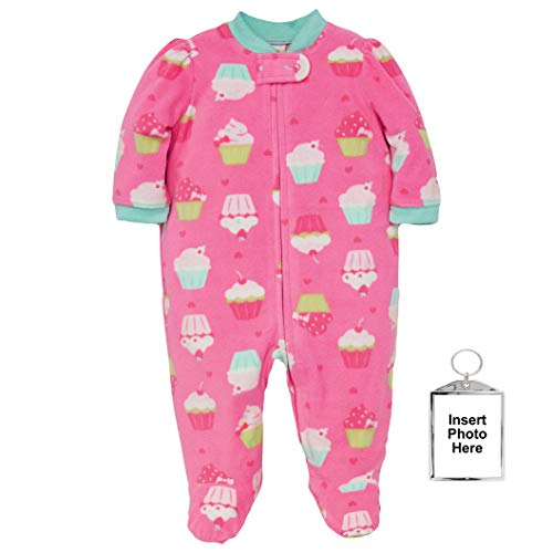 (Little Me Warm Fleece Baby Pajamas Footed Blanket Sleeper Footie Cupcake Pink 3 Months)