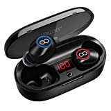 Bluetooth Headphones, VEATOOL 5.0 Binaural Call True Wireless Earbuds 20H Playtime HD Stereo Bass Sound Mini in Ear Bluetooth Earphones with Built in Mic and Charging Case for Sports Running