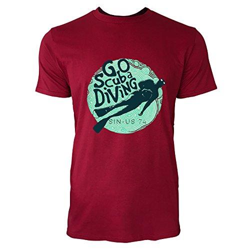 SINUS ART® Taucher mit Aufschrift Go Scuba Diving Herren T-Shirts in Independence Rot Fun Shirt mit tollen Aufdruck