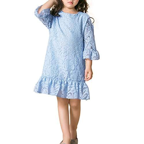 Flounce Dress Lace (Girl Dress Lace Toddler Flounce Flower Girls Dresses with Sleeves (14, Sky Blue))
