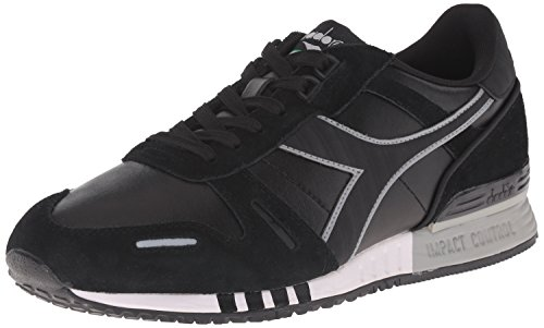 Diadora Men's Titan Leather L/S Running Shoe, Black/Black, 11 M US