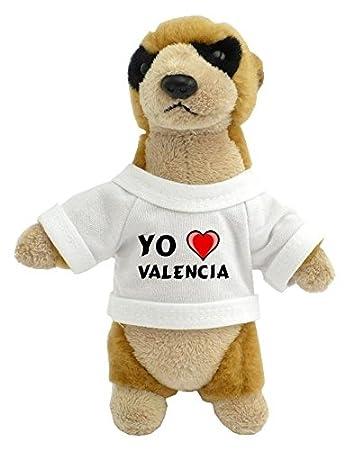 Suricata personalizada de peluche (juguete) con Amo Valencia en la camiseta (ciudad / asentamiento): Amazon.es: Juguetes y juegos