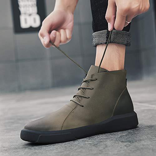 ZyuQ Herrenstiefel Winter Männer Stiefel Verdicken Hohe Hilfe Retro Leder Stiefel Mode Martin Stiefel Herrenschuhe Casual Stiefel  | Ausgang