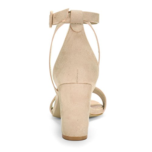 Women Heel Piped Panel HJ284 Chunky PU Ankle 5 Strap K Allegra Beige Sandals Aw8pfqtp