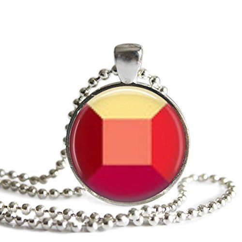 Steven Universe Ruby Gem Necklace 1 inch Silver Plated Picture Pendant
