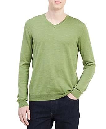 Calvin Klein Men's Merino Solid V-Neck Sweater, Airasca Green, X-Small