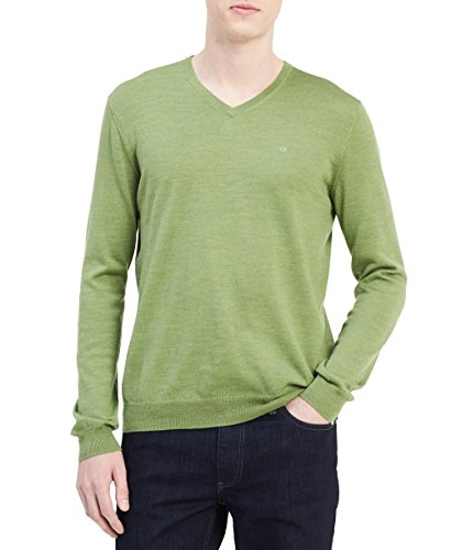 Calvin V-neck Sweater - Calvin Klein Men's Merino Sweater V-Neck Solid, Airasca Green, X-Large