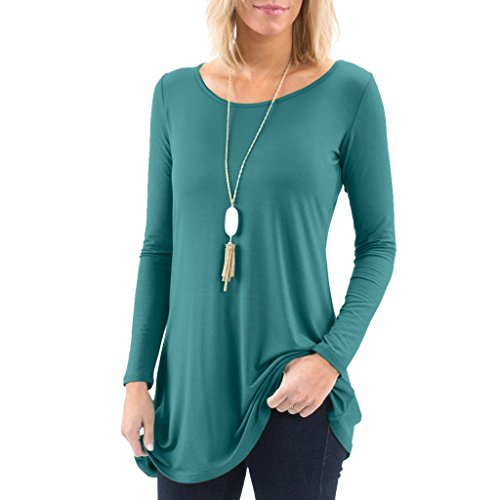 Anna Dress In Teal - Posh Women's Long Sleeve Boatneck Tunic with Symmetrical Hem - Super Soft Loose Fit T-Shirt Tunic Top, Perfect Casual Blouse for Leggings & Jeans - Large - Teal