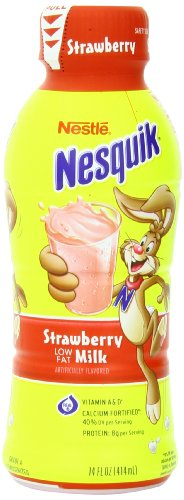 - Nestle Nesquik Low Fat 1% Milk, Strawberry, 14 Ounce (Pack of 12)