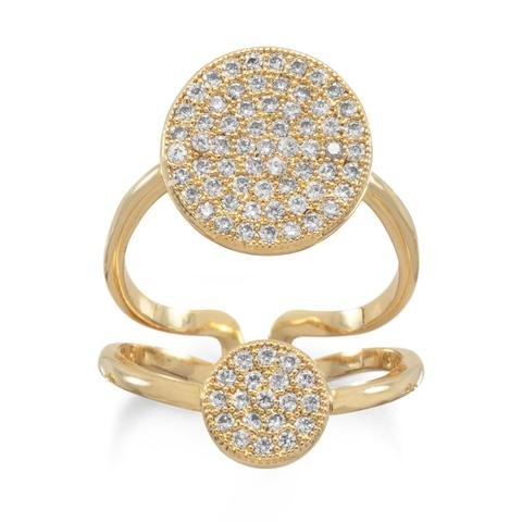 Gold Plated Double CZ Circle Fashion Ring