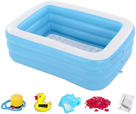 TRER Niños inflables/Piscina para Adultos niños Azules/Piscina para Adultos Verano Agua diversión bañera Piso Inflable Piso Suave (Color : Blue, Size : 196 * 143 * 60cm): Amazon.es: Jardín