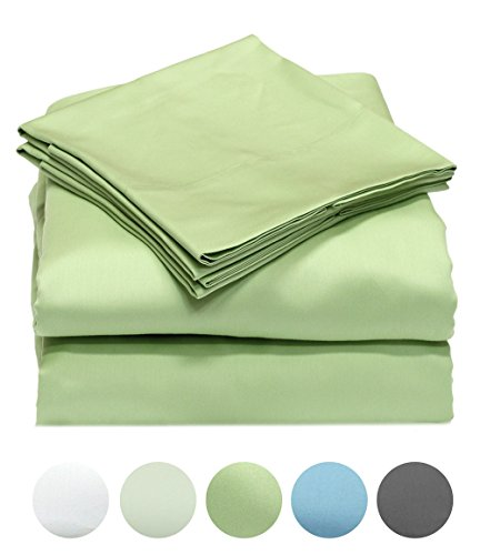 300 Thread Count 100% Organic Cotton Soft Sateen Sheet Set GOTS Certified, Hotel Luxury Bed Sheets, Queen Size Sheet Set, Elastic Deep Pocket, Breathable & Cooling Sheets, 4-Pc Set, Queen - Sage