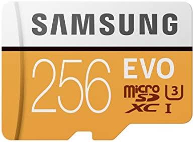 Samsung EVO - Tarjeta de Memoria (MicroSDXC EVO, 256 GB, MicroSDXC, Clase 10, 100 MB/s, UHS-I, 10000 ciclos por Sector lógico), Naranja/Blanco