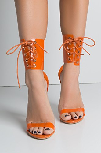 Azalea Wang Clear Transparent Perspex Orange PVC Lace Up Sexy Corset High Heel (Heel Corset)