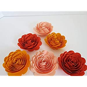 """Shades of Orange Paper Flowers, Set of 6, 3"""" Roses, Fall Wedding Decorations, Ombre Autumn Floral Decor, Bridal Shower Decorating Supplies 37"""