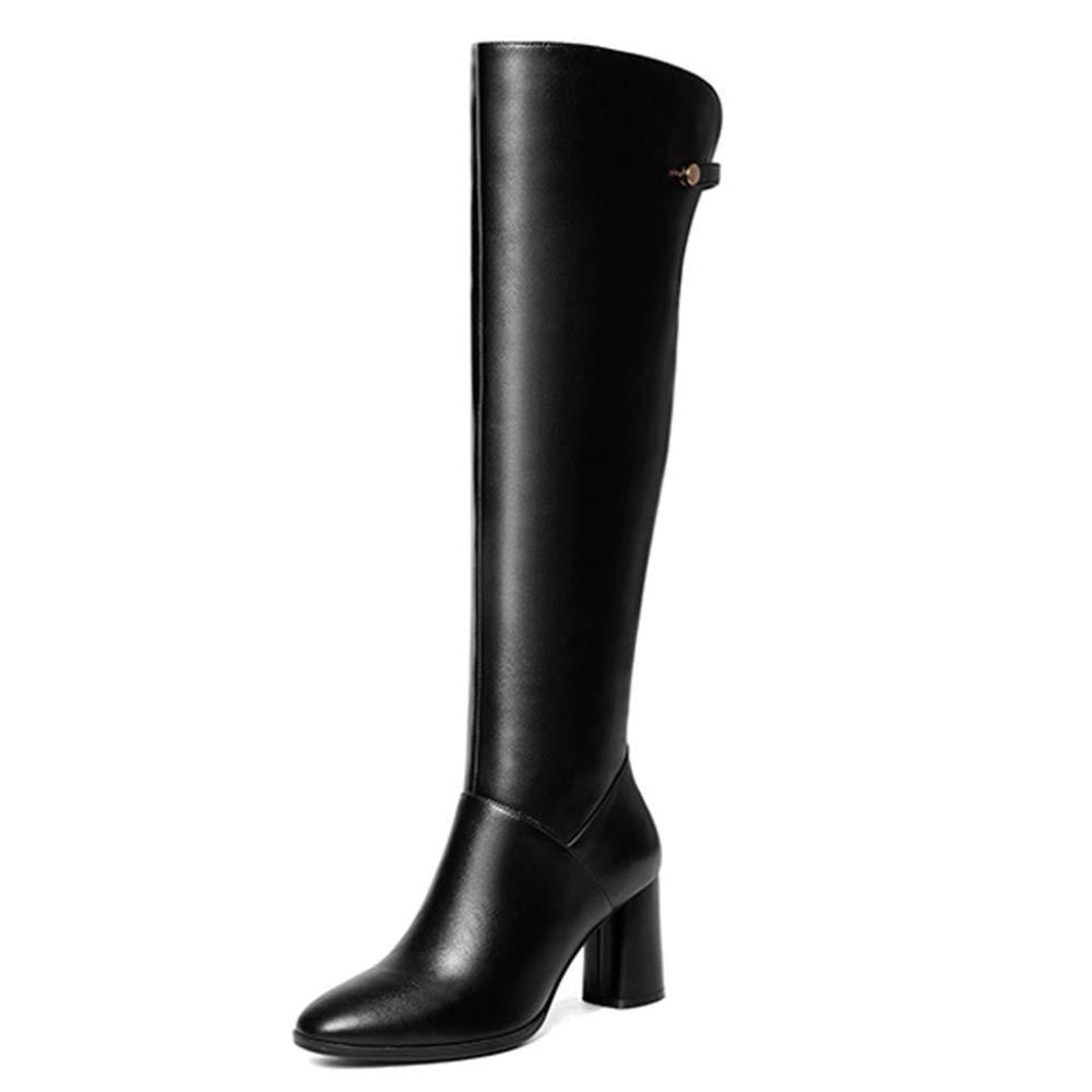 Cy Frauen Der Lange Schlauch-Stiefel Overknee Stiefel Round Toe Thick Heels Plüsch-echtes Leder-Stiefel Knight Stiefel Diskothek  | Charakteristisch