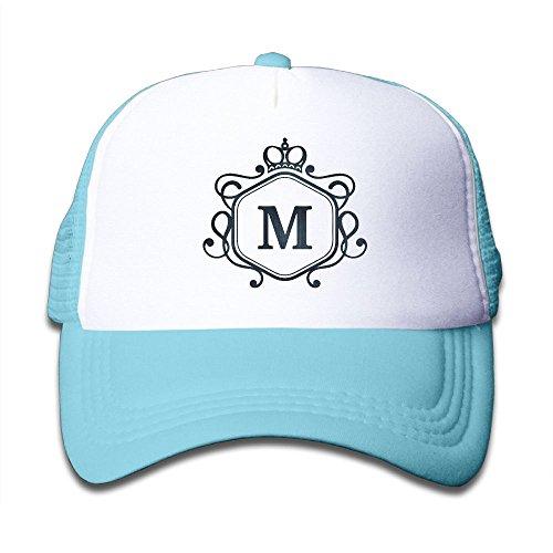 (HAIDILUN Monogram Letter M Kids Lightweight Quick Drying Mesh-Back Adjustable Cap UV Protection Caps)