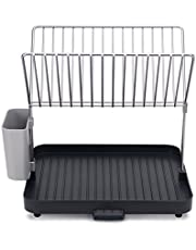 Joseph Joseph Y-rack Dish Rack and Drainboard Set with Cutlery Organizer Drainer Drying Tray Large for Kitchen, Gray ,(85084)