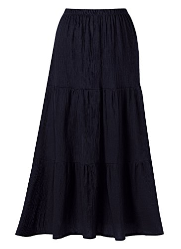 100% Cotton Crinkle Tiered Skirt Sizes SP MP LG (30 ); S M L (32 ), Color Black, Size MED
