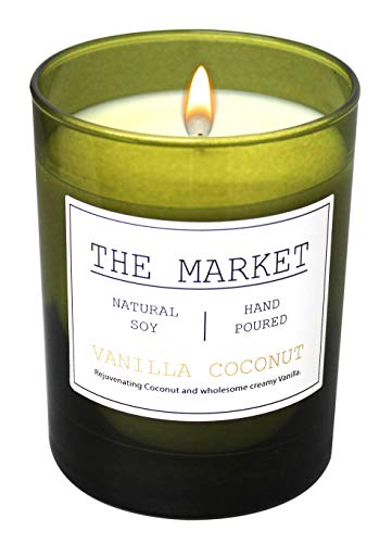 Scentsational THE MARKET Revitalizing Aromatherapy Essential Oil Scented Soy Candle (Vanilla Coconut)