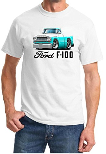 1959 Ford F100 F-100 Pickup Truck Full Color Design Tshirt Small White ()