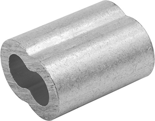 Swage Right MIL-SPEC Aluminum Swage Sleeves Clip & Ferrules (3/8 inch) - Oval Duplex Wire Rope Cable Crimping Loop Fittings (Pack of 25)