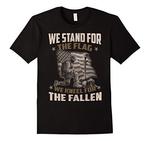 Men's Veteran Gift, We Stand For The Flag, We Kneel For The Fallen XL Black