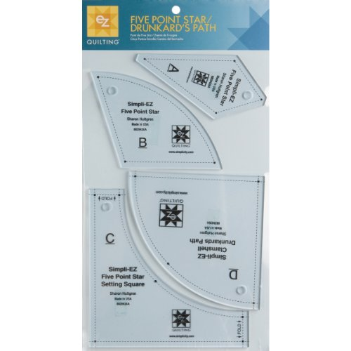 Drunkards Path Template - Wrights 8829426A Five Point Star/Drunkard's Path Template, 4-Pack